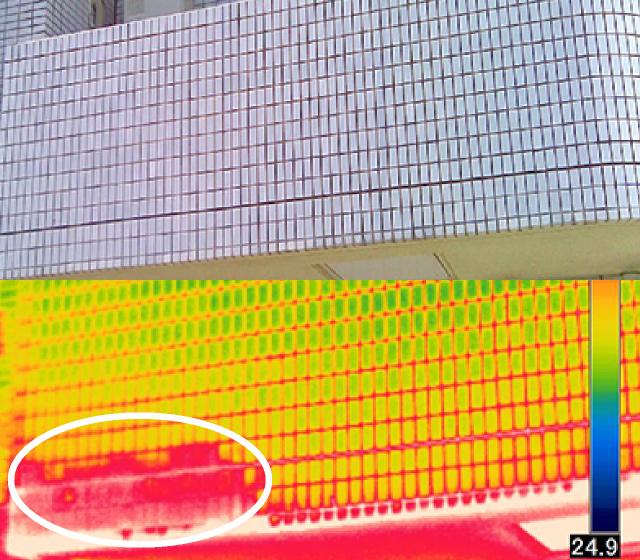 外壁劣化部の赤外線診断例